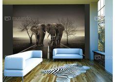 Nový trend v moderním bydlení - vliesová fototapeta Decoration, City, Painting, Animals, Posters, Beige, Products, White Elephant, Blanco Y Negro