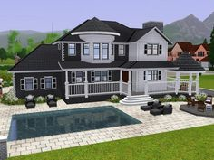 Large family Villa with 2 floors. Found in TSR Category 'Sims 3 Residential Lots' Sims 4 Family, Sims 4 House Building, Sims 4 House Design, Villa, Old Mansions, Mansion Interior, Sims 4 Build, Unusual Homes, Celebrity Houses