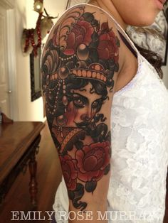 I want a tat like this only art nouveau with a day of the dead painted face for a half sleeve.