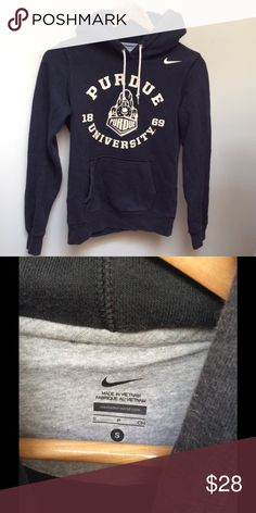 "Nike Perdue University Hoodie Sweatshirt GLITTER Make this yours! Awesome Nike brand Perdue University Black Hoodie with GLITTER!!  The Measurements: Tag Size Women's Small but fits more like a XSmall. Would be a tight Small. Chest 32"" Length: 28""   Condition: Like new! Nike Tops Sweatshirts & Hoodies"