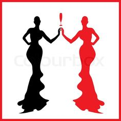 Abstraction WOMAN silhouette black and red glass | Stock Vector ...