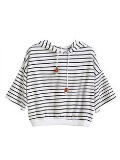 Camiseta con capucha de rayas hombro drapeado cordón - blanco
