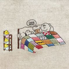Good Night Charlie Brown, Snoopy, and Woodstock embroidery Embroidery Art, Cross Stitch Embroidery, Embroidery Patterns, Cross Stitch Patterns, Machine Embroidery, Snoopy Quotes, Charlie Brown And Snoopy, Snoopy And Woodstock, Peanuts Snoopy