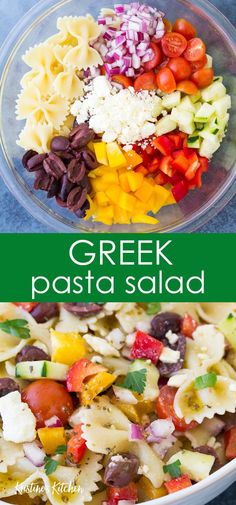 Delicious Greek Pasta Salad with feta cheese, olives, vegetables and a simple Greek dressing. It's perfect for potlucks or as a side dish for dinner. Healthy Pasta Salad, Shrimp Salad Recipes, Greek Salad Pasta, Fruit Salad Recipes, Healthy Pastas, Soup And Salad, Pasta Recipes, Appetizer Recipes, Healthy Recipes