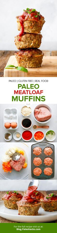 Bake up pint-sized meatloaf muffins with seasoned veggies and a sugar-free tomato sauce! Paleo Meatloaf, Meatloaf Muffins, Best Meatloaf, Meatloaf Recipes, Paleo Recipes Easy, Dairy Free Recipes, Real Food Recipes, Gluten Free, Kid Recipes