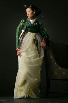Hanbok - forest green jeogori, red undercuffs  - Kim MeHee | kimmehee.com