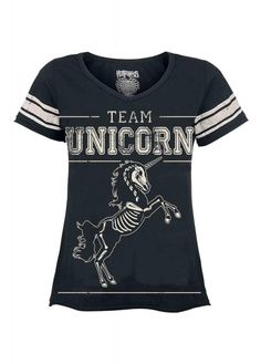 The Team Unicorn Tee from Heartless is a fitted pastel goth top. The sporty alternative T-shirt has a Team Unicorn front print with skeleton unicorn and striped sleeves. Unicorn Outfit, Unicorn Gifts, Black Cotton, A Team, T Shirts For Women, Tees, Mens Tops, Pastel Goth, Spirit Animal