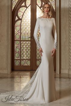 d966ce86b1c8 Queenly Trumpet-Mermaid Bateau Natural Court Train Stretch Crepe Ivory Long  Sleeve Open Back Wedding Dress Appliques Beading 08006