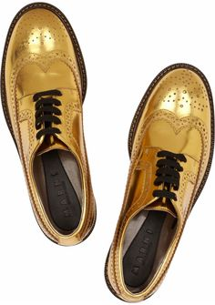 Marni Gold Leather Brogues