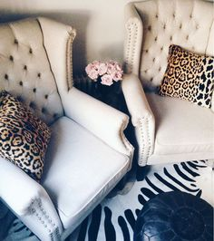 Shopping: My favorite zebra rug finds — The Decorista Velvet Cushions, Throw Cushions, Pillows, Leopard Print Chair, Leopard Decor, Zebra Print, Wingback Chair, Armchair, Taupe Walls