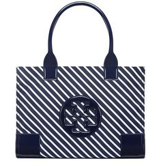 Tory Burch Ella Stripe Mini Tote ($175) ❤ liked on Polyvore featuring bags, handbags, tote bags, regatta, striped tote bag, mini tote bags, carryall tote, tote handbags and tote purses