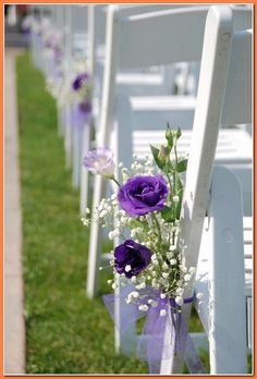 Everyone wants to pull off that luxury wedding see at budget prices. ** Be sure to check out this useful article. Purple Outdoor Weddings, Outdoor Wedding Chairs, Purple Wedding Tables, Purple Wedding Decorations, Indoor Wedding, Purple Centerpiece Wedding, Aisle Flowers, Wedding Flowers, Ribbon Wedding