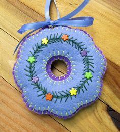 Wool Felt Embroidered Periwinkle Wreath Ornament by FHGoldDesigns