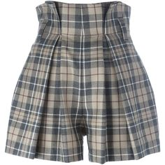 Vivienne Westwood Anglomania  High Waist Tartan Shorts ($369) ❤ liked on Polyvore featuring shorts, highwaist shorts, high waisted shorts, plaid shorts, beige shorts and high-waisted shorts