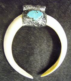 Genuine Texas Wild Hog Tusk & turquoise pendant.  www.turquoisecowgirl.etsy.com