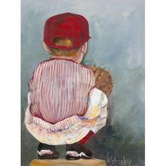 Oopsy Daisy - Lil' Catcher Boy Canvas Wall Art 24x30, Kristina Bass Bailey