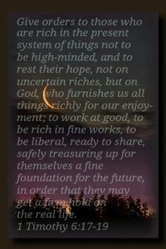 1 Timothy 6:17-19