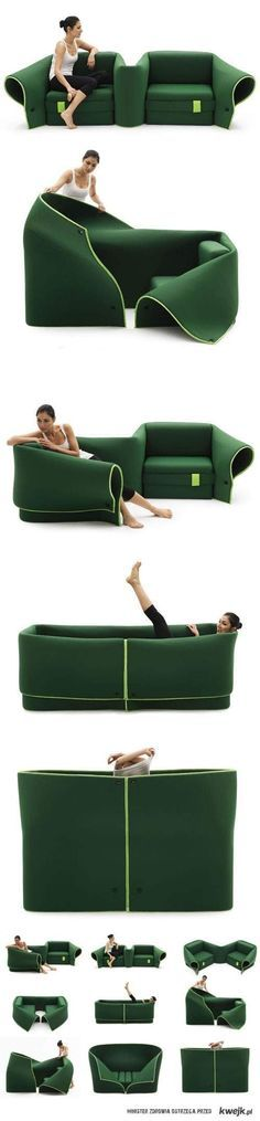 The Sosia sofa, a free-formable, adaptable piece by Milan-based designer Emanuele Magini, lets you configure its two seats and flexible fabric flap, to accommodate a variety of different seating needs and scenarios: From sofa and armchairs to L-shaped conversation nook, face-to-face sitting area, daybed and even a private enclosed space that can be used as a dressing room.