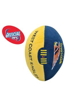 Awesome baby football! This 18cm West Coast Eagles plush football is an Official AFL plush football, perfect gift for the football enthusiast new mum & dad.
