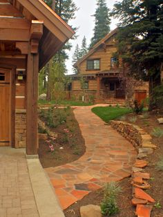 Impressive Cabin Design With Wood Material : Traditional Landscape Garden Stone Pathway Rustic Golf Cabin Exterior
