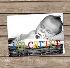 Hello Carter Baby Boy Custom Photo Birth Announcement by deanworks, $15.00