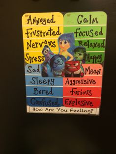 Inside Out Feelings Chart- Zones of Regulation Based Feelings Chart, Feelings And Emotions, Inside Out Emotions, Teaching Social Skills, Social Emotional Learning, Teaching Emotions, Emotional Regulation, Self Regulation, Behaviour Management