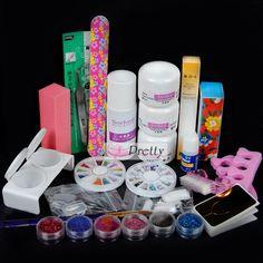 Pro Color Acrylic Powder Glitter Nail Art 75ml Liquid Tool UV Glue Tips Set Kit #Unbranded