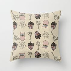 Autumn Things on Cappuccino Dots Throw Pillow by Bohemian Bear by Kristi Duggins - $20.00