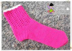Bordando Carinho ♥: Meia de Crochê em lã