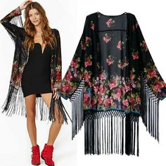 To find out about the Black Long Sleeve Floral Tassel Loose Kimono at SHEIN, part of our latest Kimonos ready to shop online today! Kimono Blouse, Kimono Coat, Boho Kimono, Floral Kimono, Kimono Style, Cardigan Fashion, Kimono Fashion, Long Sleeve Kimono, Mode Simple