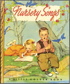 GOLDEN BOOK NURSERY SONGS Arranged By Leah Gale NY Simon Schuster 1942 Blue Cloth Spine Little Golden Book Owner Name On Endpaper Else Near