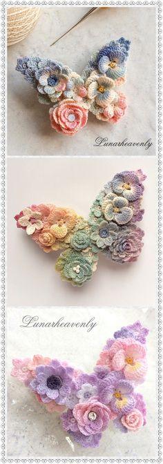 Lunarheavenly Crochet Butterfly, Crochet Flower Patterns, Crochet Stitches Patterns, Crochet Designs, Crochet Flowers, Crochet Cap, Crochet Gifts, Crochet Motif, Irish Crochet
