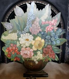 A Hand Painted Dummy Board Firescreen