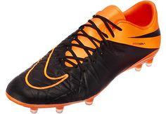 Nike Hypervenom Phinish Leather FG Soccer Cleats - Black and Orange