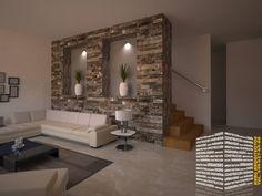 ESCALERA CON PIEDRA: Pasillo, hall y escaleras de estilo  por HHRG ARQUITECTOS