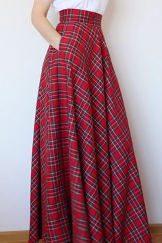 Long Plaid Skirt, Plaid Skirts, Jean Skirts, Maxi Skirt Outfits, Dress Skirt, Long Maxi Skirts, Waist Skirt, Maxi Skirt High Waisted, Winter Maxi Skirts