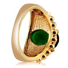 Xinguang Women's Green Zircon Crystal + Alloy Ring - Golden (US Size 8)