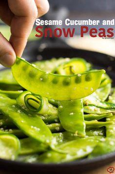 Sesame Cucumber and Snow Peas - olive oil, snow peas, cucumber, sesame seeds, lemon juice, salt