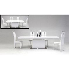 Zenith Modern White Extendable Dining Table - 1425.0000