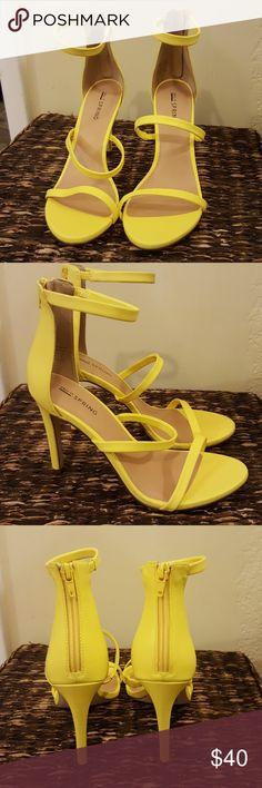 "Call It Spring Yellow Sandals Brand New yellow heels with zipper at heel. 4.5"" heel Call It Spring Shoes Heels"