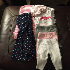 Baby girl newborn bundle Newborn bundle, 3 pants, 3 onesies, 2 sweatshirts and 2 hats, no stains or wear or tear, carters, gerber and circo Carters Other