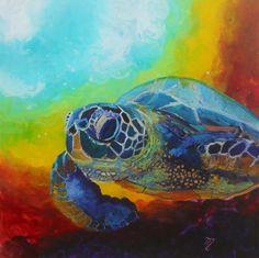 Honu 8 Original Sea Turtle Reverse Acrylic Painting by Marionette from Kauai Hawaii blue mint teal turquoise gold aqua