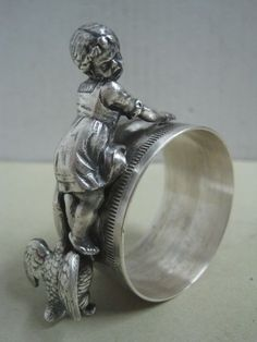 Antique WMF Napkin Ring with a girl and a duck Germany