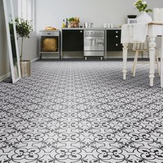 Stunning country cottage floral tile design vinyl flooring in blues and beige. Perfect kitchen or bathroom vinyl flooring. Easy to install, easy clean and water resistant. Available with free next working day delivery throughout mainland UK. Tile Effect Vinyl Flooring, White Vinyl Flooring, Cushioned Vinyl Flooring, Vinyl Flooring Bathroom, Vinyl Sheet Flooring, Luxury Vinyl Flooring, Kitchen Flooring, Retro Vinyl Flooring, Farmhouse Flooring