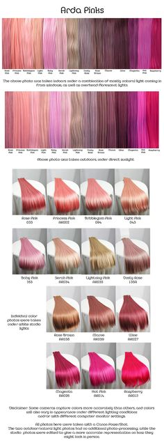 Arda pinks, wig fiber color pallette.