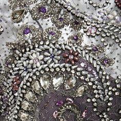 Marchesa  bodice detail #embellishment #embroidery #beading #detail #beautiful #nyc #textiles #textiles #silver #purple