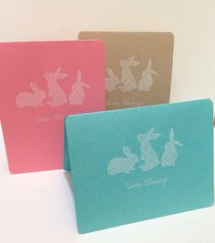Set of 3 Easter Blessings greeting cards.  Simply stamped with white pigment ink. on Etsy, $7.50