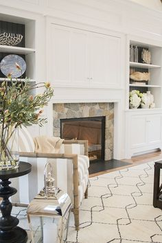 Painted shiplap behind open shelving next to fireplace. Fireplace area in the amazing 2015 HGTV dream home great room on Martha's Vineyard - Tv Above Fireplace, Fireplace Built Ins, Fireplace Surrounds, Gas Fireplace, Fireplace Update, Fireplace Inserts, Electric Fireplace, Coastal Living Rooms, Home And Living