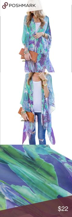 Lavender & teal watercolor kimono NWOT chiffon kimono. Gorgeous green,blue and purple water color print Tops