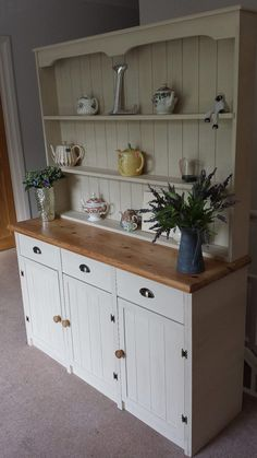 Lovely Painted Kitchen Cabinets Two Different Colors: A Lovely Rustic Hand Painted Welsh Dresser By Kitchen Cabinets Pictures, Kitchen Cabinet Colors, Painting Kitchen Cabinets, Kitchen Dresser, Green Country Kitchen, Yellow Kitchen Accents, Whimsical Kitchen, Painted Dining Chairs, Upcycled Furniture